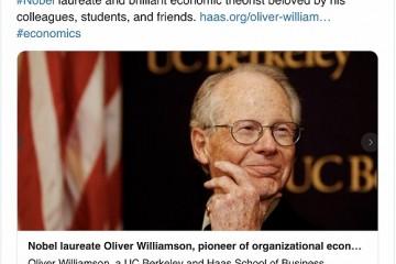 诺贝尔经济学奖得主威廉姆森病逝10年前曾到我国布道